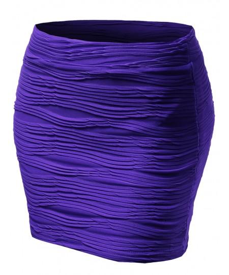 Women's Short Length Tight Flow Pattern Mini Skirts