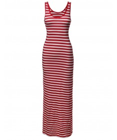 Women's Stripe Sleeveless Tanktop Long Maxi Dresses