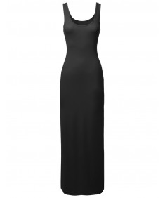 Women's Solid Sleeveless Tanktop Racerbackmaxi Dresses