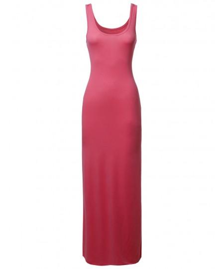 Women's Solid Sleeveless Tanktop Racerbackmaxi Dresses