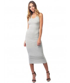 Women's Sleeveless Caged Back Ribbed Casual Maxi Dress