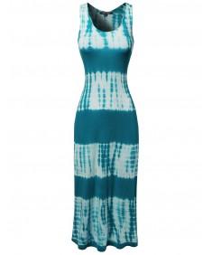 Women's Racerback Tie Dye Summer Maxi Dress in Various colors