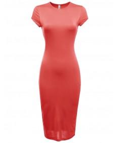 Women's Cap Sleeve Double Layer Long Bodycon Midi Dress