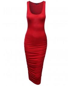 Women's Solid Sleeveless Dress W/ Side Shirring