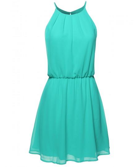 Women's High Neck Pleated Dress w/ Waistband