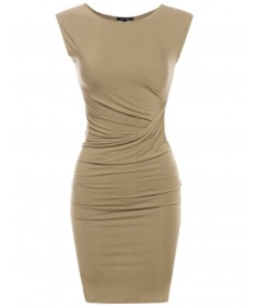 Women's Sleeveless Midi Dress with Side Tuck