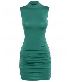 Women's Turtle Neck Body Con Midi Dress with Side Shirring