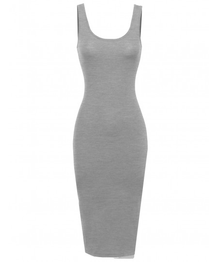 Women's Basic Double Scoop Neck Fitted Midi Dresss