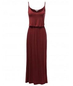 Women's Solid Adjustable Strap Cami Maxi Dresses