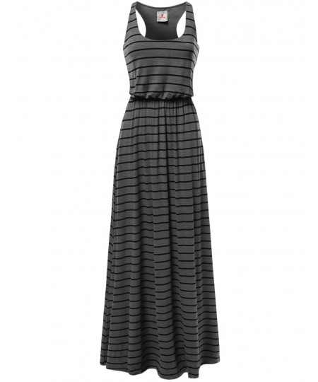 Women's Lined Striped Sleeveless Tank Racer-Back Long Maxi Dresses