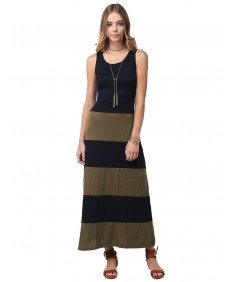 Women's Line Striped Sleeveless Tank Racerback Long Maxi Dresses