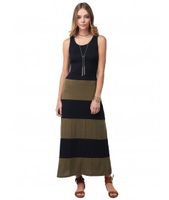 Women's Lined Striped Sleeveless Tank Racer-Back Long Maxi Dresses
