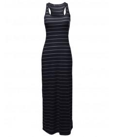 Women's Basic Stripe Sleeveless Racerback Maxi Dresses