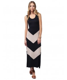 Women's Color Block Striped  Good Strech  Maxi Dresses