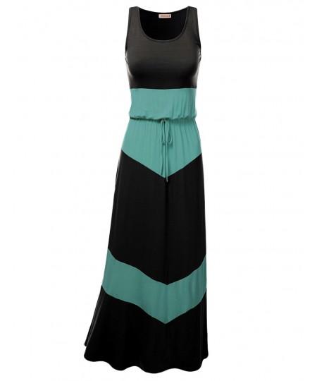 Women's Color Block Striped Good Strech Waist String Maxi Dresses
