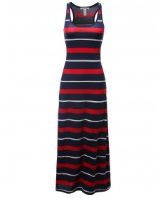 Women's Stripe Sleeveless Tanktop Racerback Long Maxi Dresses