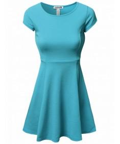 Women's Solid Short Sleeve Styleline Skater Dresses