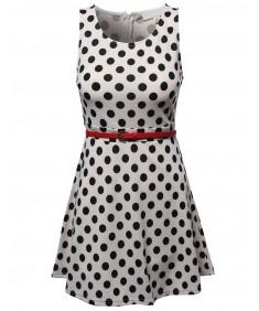 Women's Casual Fit Flare Polkadot Sleeveless Dress