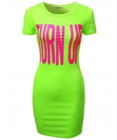 Women's Turn Up Printed Tee Dresses