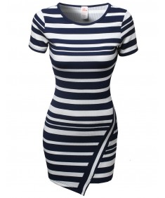 Women's Casual Cute Stripe Colorblock Short Sleeve Bodycon Dresses