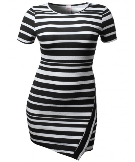 Women's Cute Stripe Colorblock Short Sleeve Bodycon Plus Size Dresses