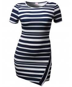 Women's Cute Stripe Colorblock Short Sleeve Bodycon Plus Size Dresses