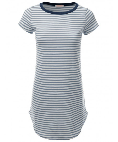 Women's Super Cute Stripe Casual Fit Short Sleeve Tshirt Dresses