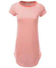 Women's Super Cute Stripe Casual Fit Short Sleeve Tshirt Dresses