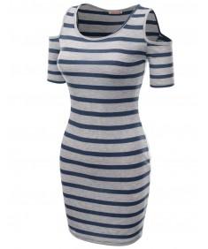 Women's Super Cute Stripe Patterned Off The Shoulder  Shirt Dresses