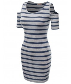 Women's Super Cute Stripe Patterned Off The Shoulder  Shirt Dresses