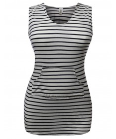 Women's Super Cute Stripe Casual Fit Sleeveless Tshirt Hood Dresses