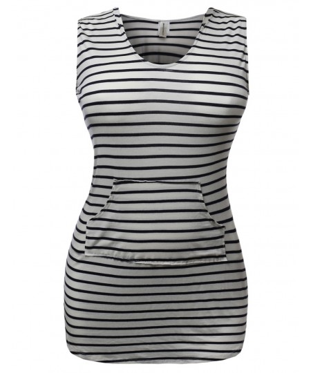 Women's Super Cute Stripe Casual Fit Sleeveless Tshirt Hood Dresses