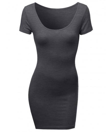 Women's Basic Solid Fitted Bodycon Dress Good Match With Cardigan Jacket