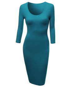 Women's Basic Solid Fitted Dress Great Match With Cardigan Jacket