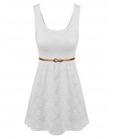 Women's Stretchy Lovely Lace Dress W Detachable Belt