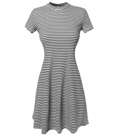 Women's Short Sleeve Keyhole Ribbed Striped Trapeze Dress