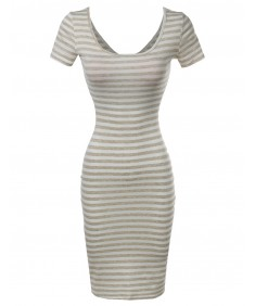 Women's Short Sleeve Rib Striped Dress