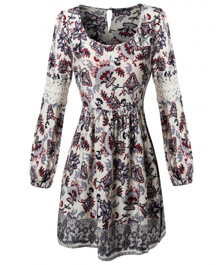 Women's Long Bell Sleeve W Lace Detail All Over Print Loose Fit Dress