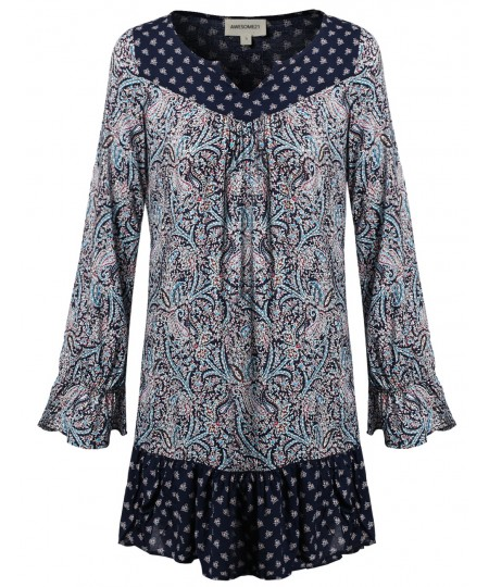 Women's Long Bell Sleeve All Over Print Mini Loose Fit Dress