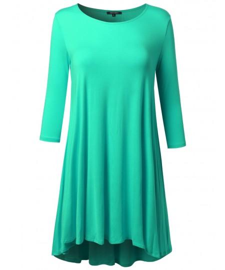 Women's 3/4 Sleeve Loose fit Swing Dress
