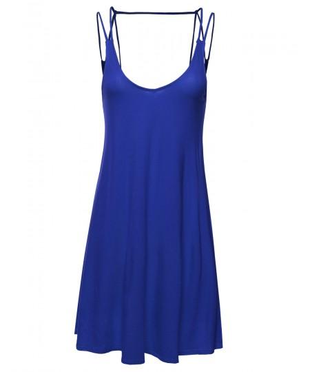 Women's Double Spaghetti Strap Dress w/ Strappy Back