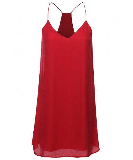 Women's Classic V-Neck Spaghetti Strap Dress