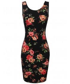 Women's Floral Print Sleeveless Body Con Dress