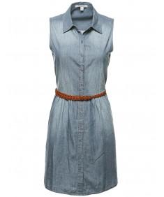 Women's Button Down Sleeveless Denim Dress w/ Attached Belt