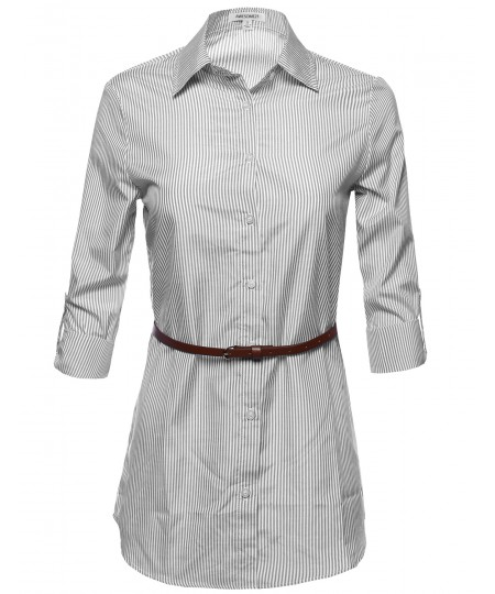 Women's Button Down Stripe Shirt Dress w/ Attached Belt