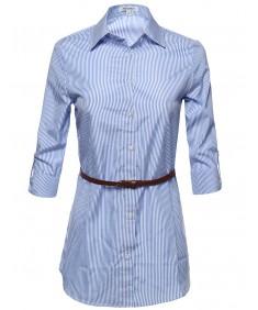 Women's Button Down Stripe Shirt Dress w/ Attached Belt