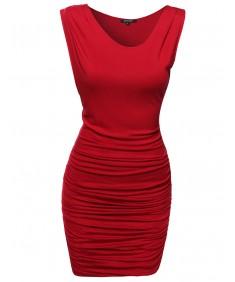 Women's Unbalanced Shoulder Dress w/ Side Shirring