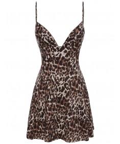 Women's Leopard Print Spaghetti Strap Party Dress
