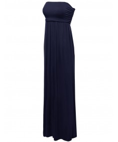 Women's Solid Plain Tube Strapless Maxi Dresses