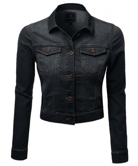 Women's Nice Stone Wash Good Stretchy Trucker Plus Size Denim Jackets